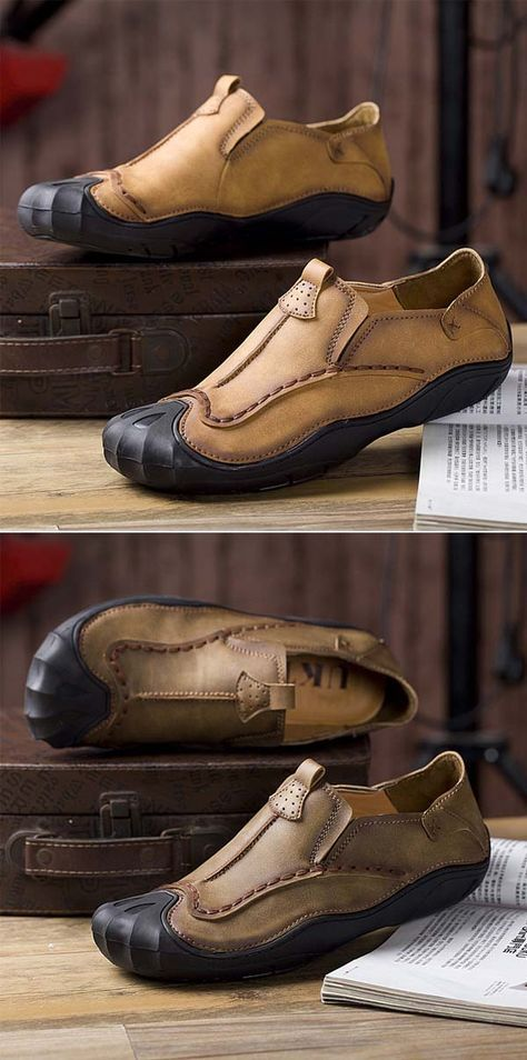 US$34.01 Men Genuine Leather Handmade Stitching Slip On Soft Soles Casual Shoes