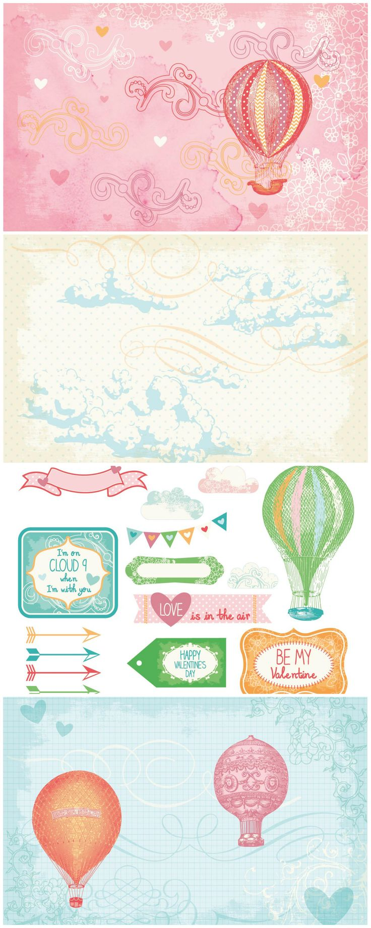Hot air balloons free printable papers for Valentine's cards - Papercraft Inspirations magazine