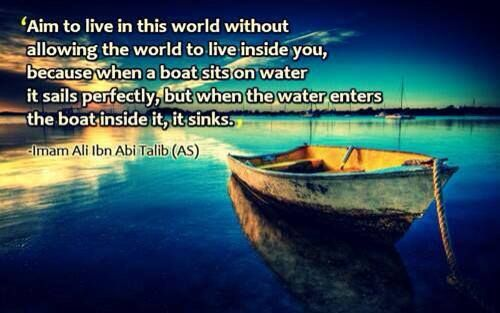 Live in this world; Don't let the world live in you ~ Imām Hussein (as)