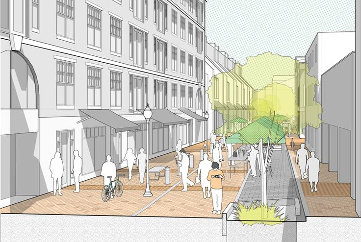 Street section/perspective. Salem Essex St. Ped. Mall : Utile Design firm