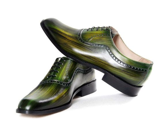 PROMO Leather man shoes wooden green jungle by JacopoRidolfiShoes