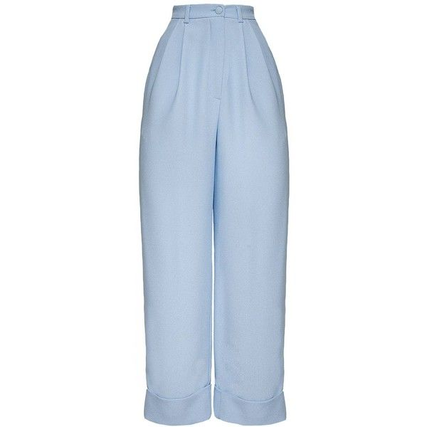 Hebe Studio - The Hebe Suit Baby Blue Boyfriend Pants ($195) ❤ liked on Polyvore featuring pants, trousers, bottoms, baby blue pants, viscose pants, button pants, rayon pants and cuffed pants