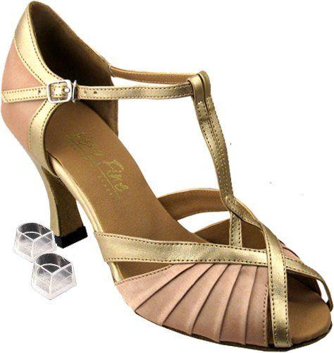 Very Fine Women's Salsa Ballroom Tango Latin Dance Shoes Style 2707 Bundle  with Plastic Dance Shoe Heel Protectors, Light Brown Satin 7 M US Heel 3  Inch