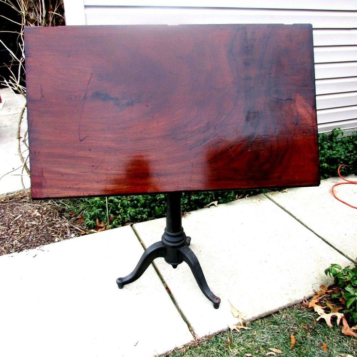 victorian period drafting table in cast iron and mahogany crotch - Drafting Tables
