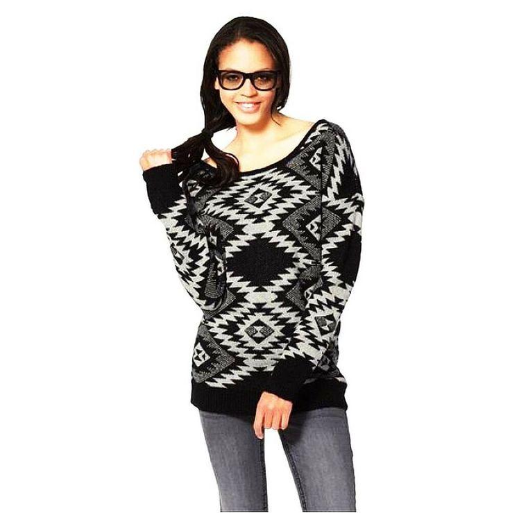 [Werbung] KangaROOS Damen Fashion TREND Pullover Strickmuster schwarz/weiß Norw… – Italyshop24.com