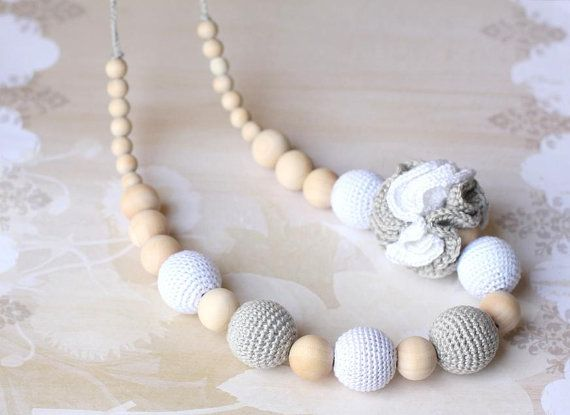 Crochet cotton Nursing necklace Fashion Accessory Girl necklace White Gray Silver Teething necklace Made to Order