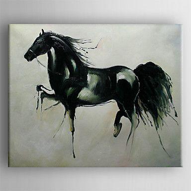 olajfestmény ló kézzel festett vászon feszített keretes készen, hogy lefagy – USD $ 89.99