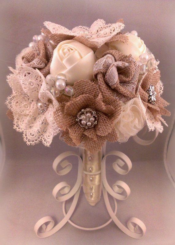 Rustic Romantic Burlap and Lace Bouquet   by PetalsAndStardust
