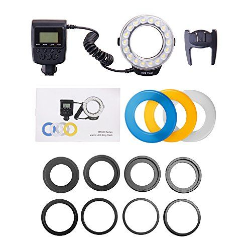 YEEMTEEM 18 pieces Macro LED Ring Flash Bundle with LCD Display Power Control,with 8 Adapter rings( 49-77mm )and 4 Flash Diffusers (Clear, Frosted, Blue, & Yellow )  This LED light Falsh Suitalbe for Canon 750D, 760D, T6i, T6s, 7D Mark 2, T2i, T3i, T4i, T5i, 550D, 600D, 650D, 700D; Nikon D500, D5500, D750, D7100, D7200, D800, D800E, D810; Sony A6500, A6300, A7 II, A7R II, A6000, A7, A7R.  Including 4 Diffusers (Clear, Frosted, Blue, & Yellow ) and 8 Adapter Rings (49-77mm), will fit 49...