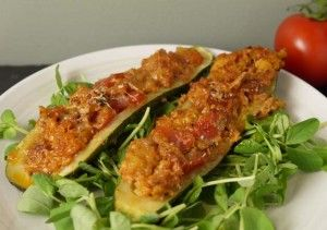 Summer 5:2 Dieting - Fast Day Stuffed Courgettes with Turkey - Low Cal
