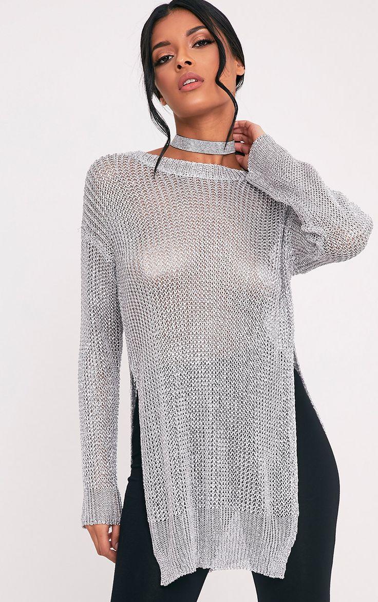 Margarita Metallic silver Knitted Side Split Sheer Oversized Jumper