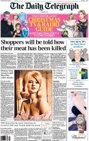 The Daily Telegraph Newspaper Front Page (UK) for 20 December 2014