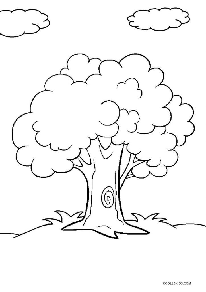 Tree Coloring Pages Tree Coloring Page Cartoon Trees Tree Drawing