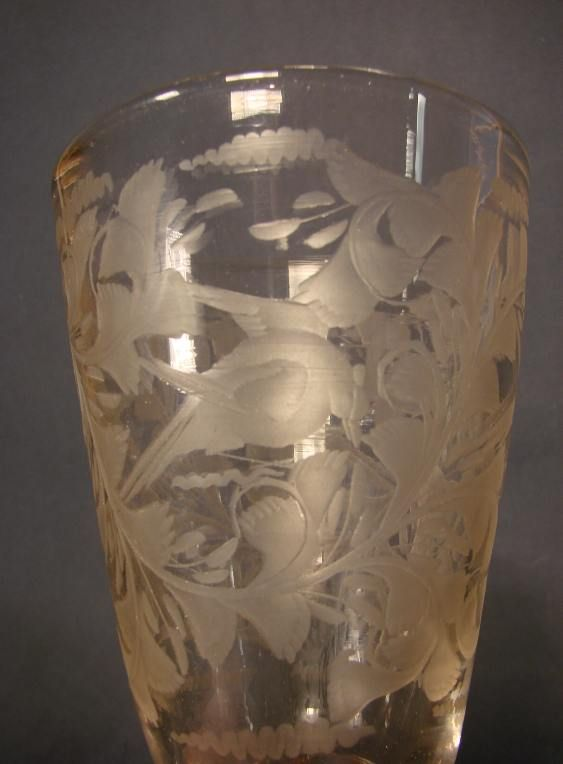 """Barockglas Böhmen 18. Jh."" - Engraved Bohemian glass goblet, 18th Century"