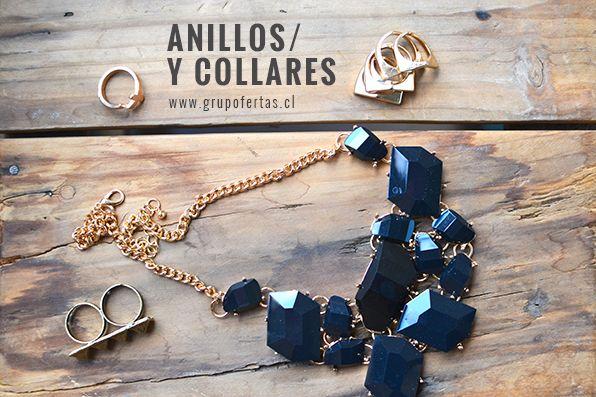Combina tus anillos con un collar negro..