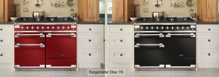 Rangemaster Elise In Cherry Red and Gloss Black