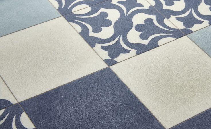 Sol vinyle EMOTION, carreau ciment bleu et beige, rouleau 4 m - Sol Vinyle - Collection Sol - Saint Maclou