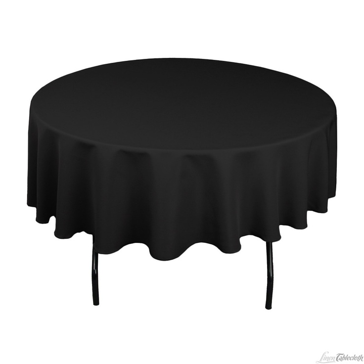 90 In Round Polyester Tablecloth Black Table Linens