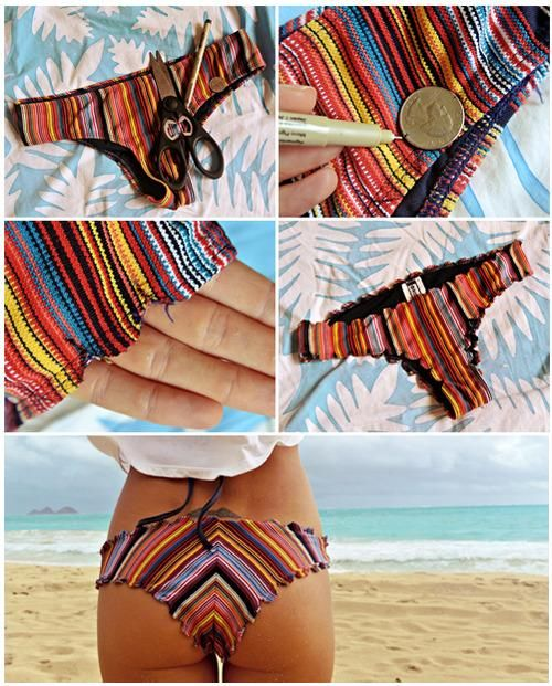 Like the scalloped bottoms, but with more coverage...DIY Bikini Facelift: Scalloped bottoms DIY Swimwear DIY Clothes DIY Refashion