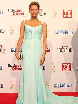 The 57th Logie Awards at Crown Casino. Logies 2015. Kassandra Clementi wearing Georgia Young Couture Spearmint Silk gown.