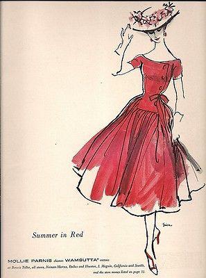 1956 SUMMER in RED Mollie Parnis Women DRESS Vintage FASHION Art Illustration Ad