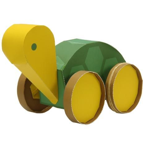 free pdf--Elastic-powered Turtle,Toys,Paper Craft,play,Animals,turtle,automobile,Rubber band,toy