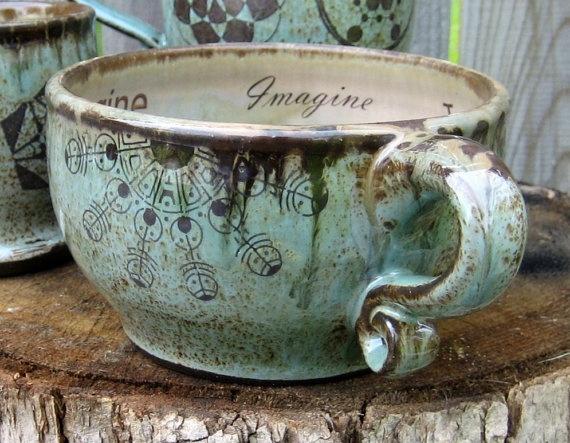Handmade Spark - CropCircleClay - Personalized Soup Mug Oversized Coffee Mug Crop Circles Beach House Kitchen, Mint Chocolate Rustic, Earthy, Handmade wheel thrown pottery