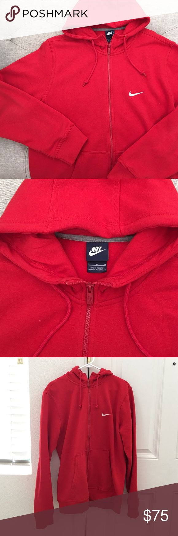 MEN: Nike Red Zip Up Hoodie Nike men's bright red zip up hoodie. Size large. Worn once, like new. My spouse thought it was too bright. Bundle-bundle to save; offer considered  Nike Sweaters Zip Up