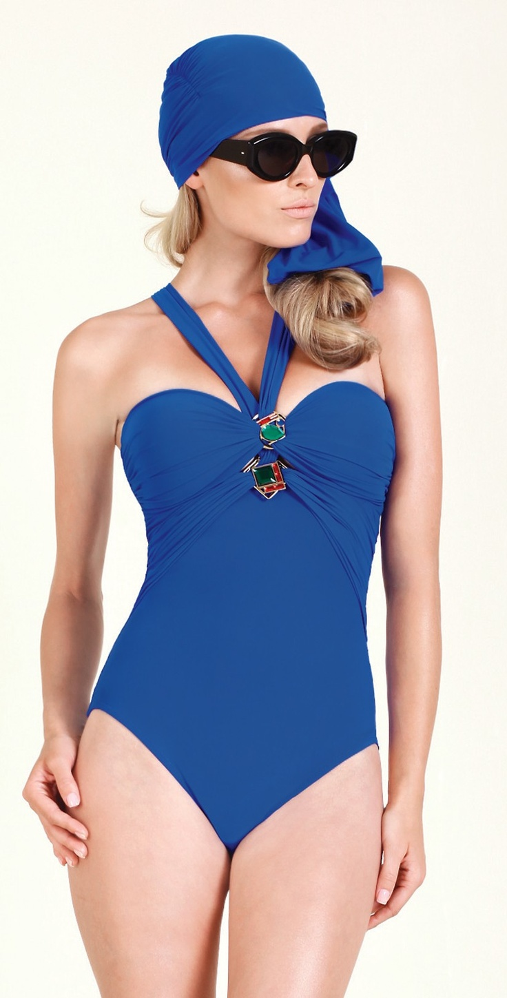 this gottex art deco bandeau one piece swimsuit has molded. Black Bedroom Furniture Sets. Home Design Ideas