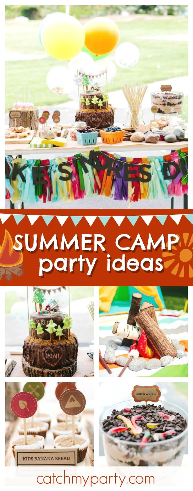 Don't miss this awesome Summer Camp birthday party! The birthday cake is so much fun!!  See more party ideas and share yours at CatchMyParty.com