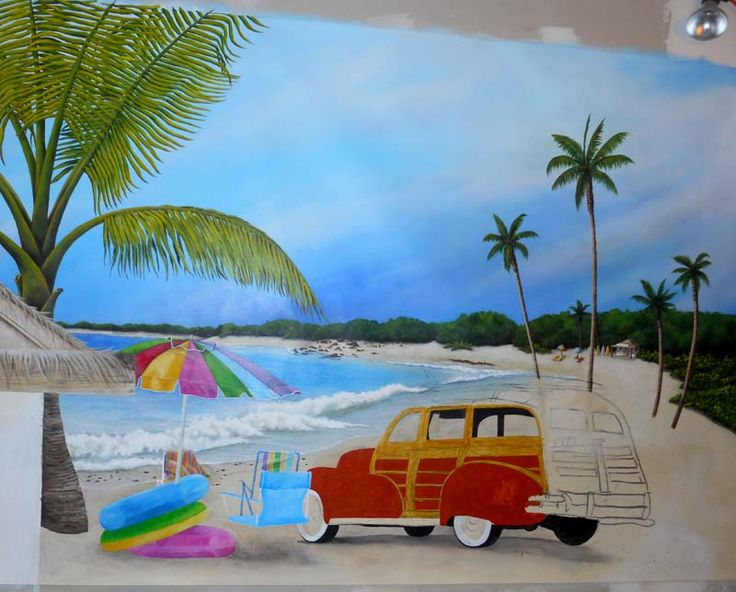 Beach themed wall murals bedroom pinterest mural for Beach mural bedroom