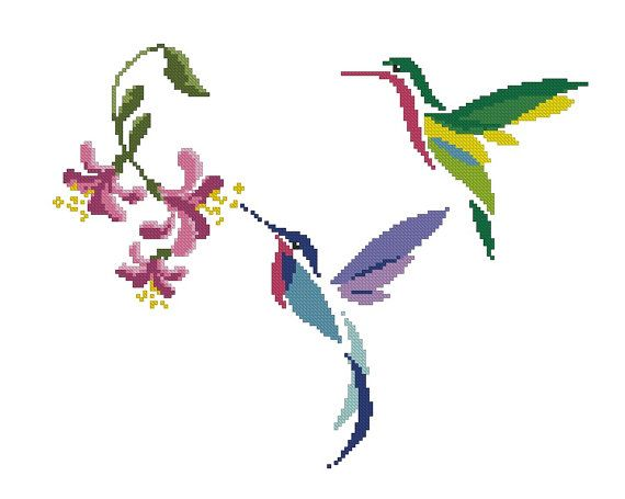 Bird/Hummingbird/animal Counted Cross Stitch от crossstitchgarden