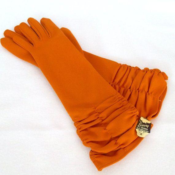 Vintage Pumpkin Orange Gloves Long New Unused Size by Revvie1, $32.00