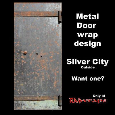 Old Metal Ructic Door Wrap, Man Cave Idea, Rusty, Black, Red