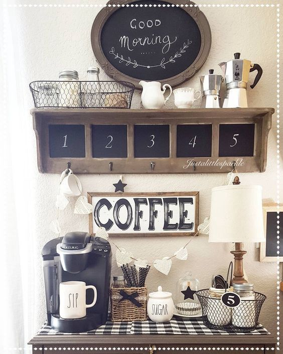 rustic farmhouse coffee bar set up - love the decorating of this kitchen coffee bar