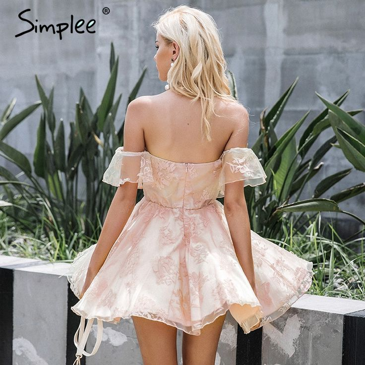 Simplee Off flor ombro malha vestido de verão mulheres Elegantes de cintura alta sem encosto mini vestido 2017 Moda strapless vestidos de festa em Vestidos de Das mulheres Roupas & Acessórios no AliExpress.com | Alibaba Group