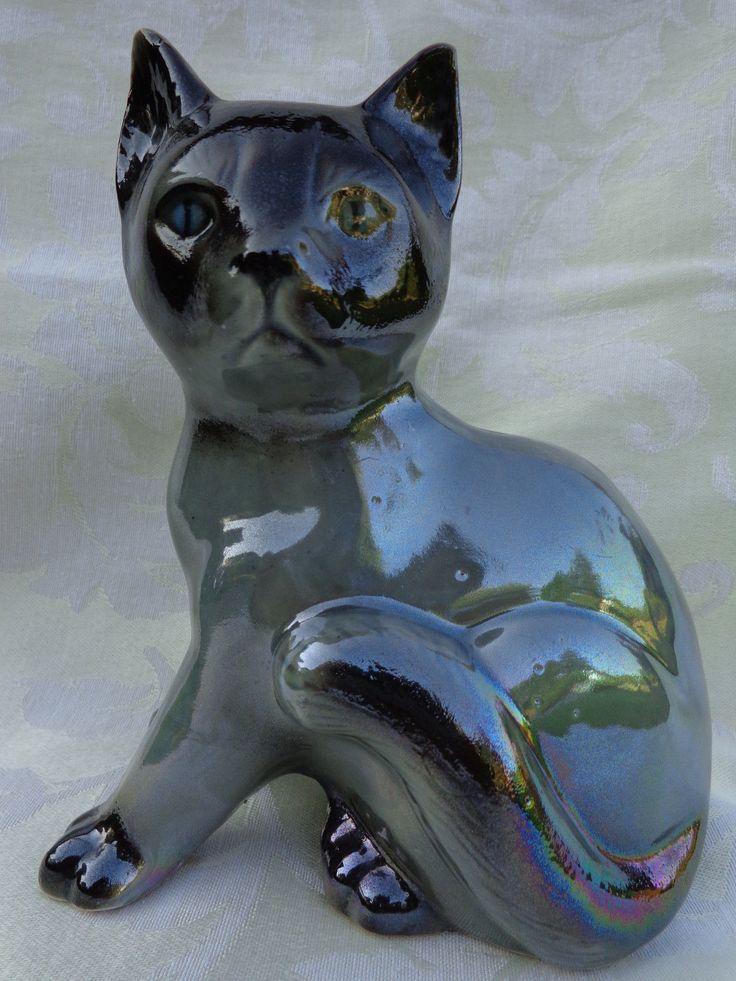 "SIAMESE CERAMIC CAT FIGURINE, BLUE EYES, 6.75"", MADE IN BRAZIL   eBay"