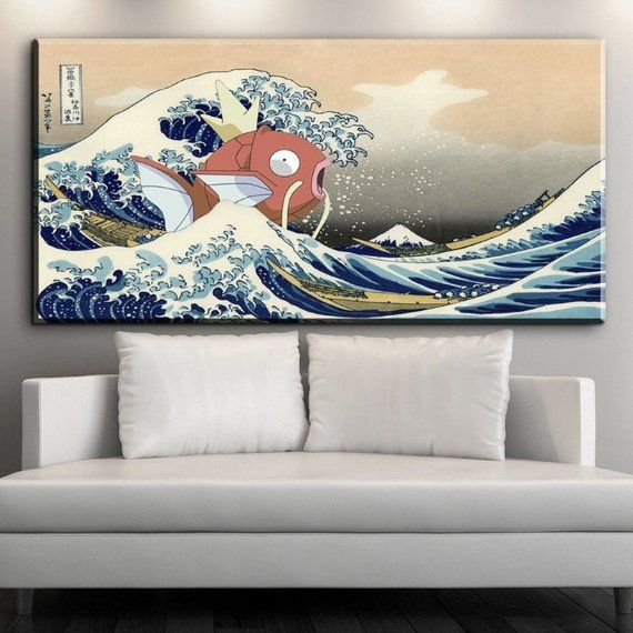 Japanese Wave Painting The Great Wave Off Kanagawa With Magikarp Jump Pokemon In The Wave Exviver Japanese Wave Painting Wave Painting Japanese Waves