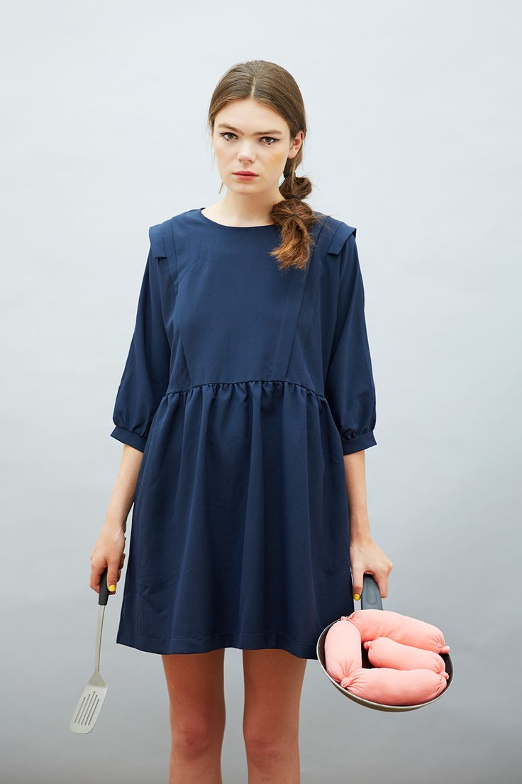 Classic TWP Smock with twist for Autumn 14 - Frill Panel Insert Smock Dress Navy  http://www.thewhitepepper.com/collections/dresses/products/frill-panel-insert-smock-dress-navy #TWP *Free Standard Worldwide Shipping when you enter code FRYUP at checkout*