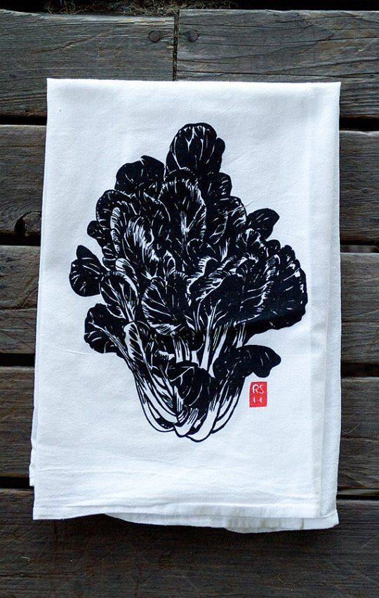 Loving these hand printed dishtowels by Rigel Stuhmiller