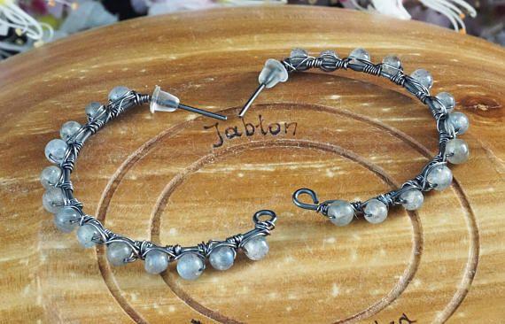 Sterling zilveren oorbellen met labradoriet / draad verpakt /