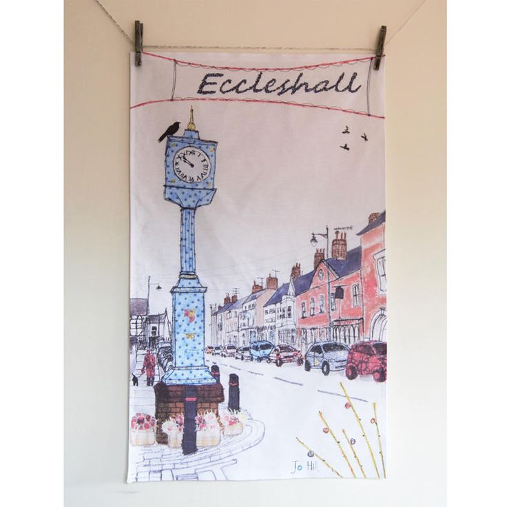 This is a print of my Eccleshall design on a high quality, 100% cotton tea towel. Use it to dry the dishes, or leave the dishes and have it on display! It also makes an excellent gift. The tea towel measures 48 cm x 78 cm and is an all-over (no border) print.Why not give this tea towel as a lovely reminder of the quaint Staffordshire town? More picturesque places on the way - please let me know if you have any recommendations!