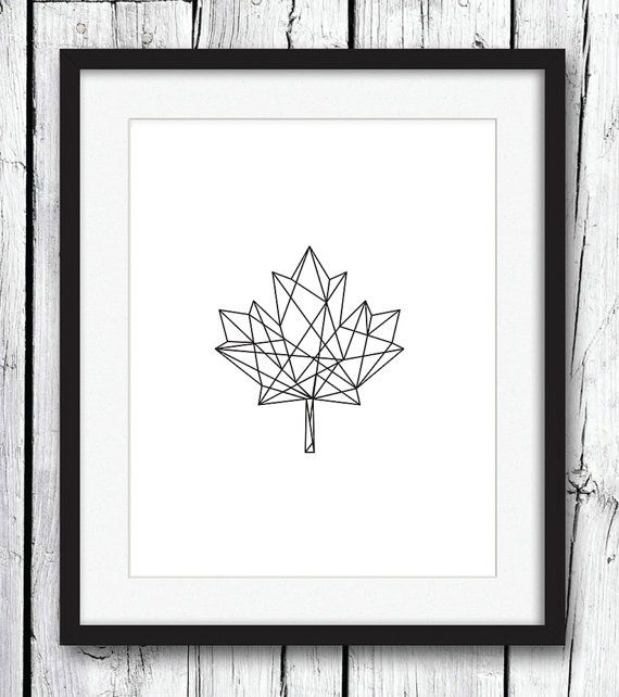 Geometric Print, Black on White Geometric Maple Leaf Print, Black Wall Art, Geometric Art, Printable Art, Wall Decor