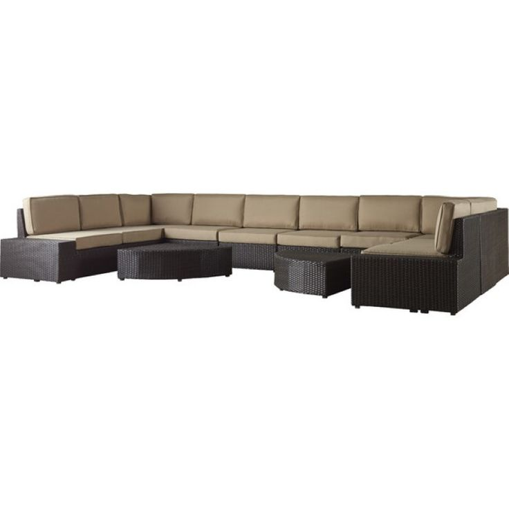 12 PCS Contemporary Outdoor Sofa Wicker - With Cushions Brown | ThePatioDepot.com USA