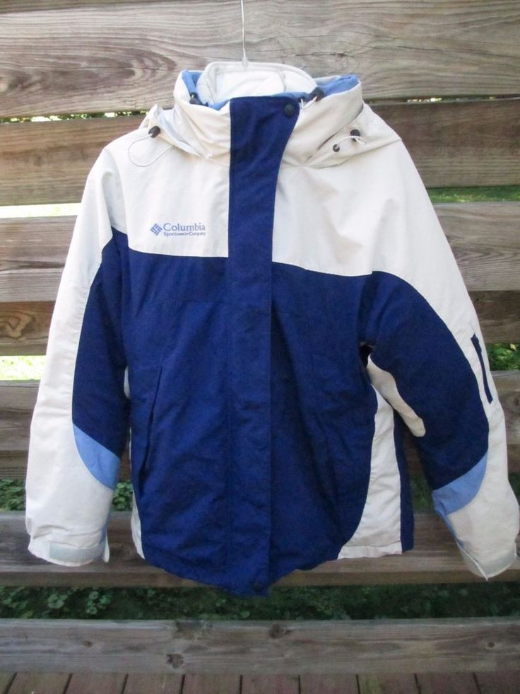 Women's Interchange Core Columbia Ski Parka Jacket Two in One. Hood on outer jacket. Machine Wash. Zip out quilted jacket. White with two tones of blue. Very good condition - outer jacket shows wear on edge of sleeve. | eBay!