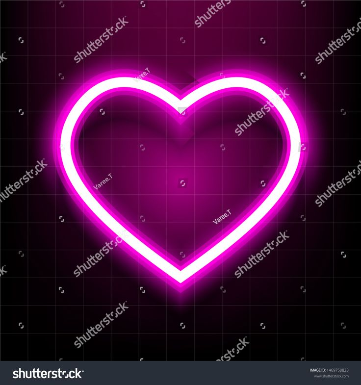 Heart symbol icon with neon pink outlined and glowing