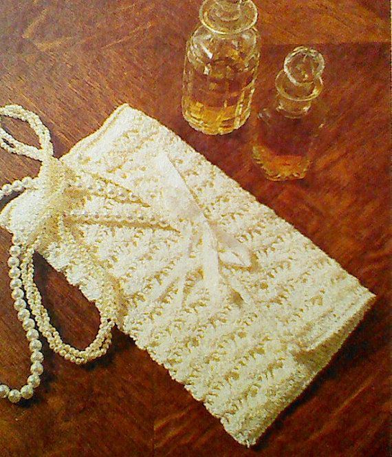 Free Crochet Wedding Bag Pattern : Vintage Crochet White Lace Clutch Purse Pattern by ...