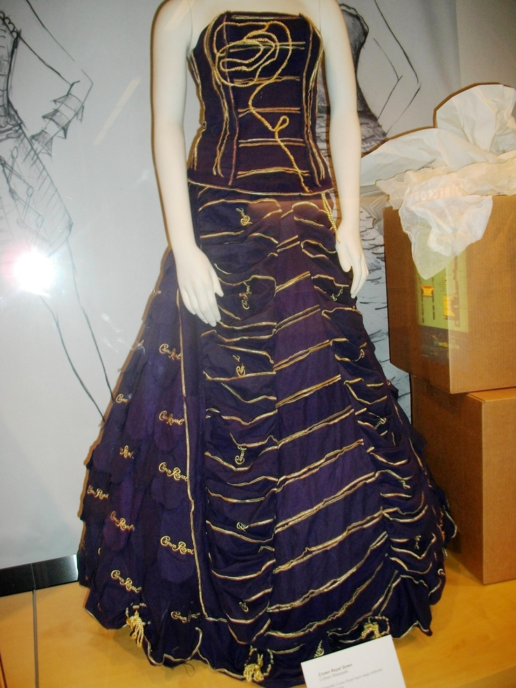 dress made out of crown royal bags for a recycling design