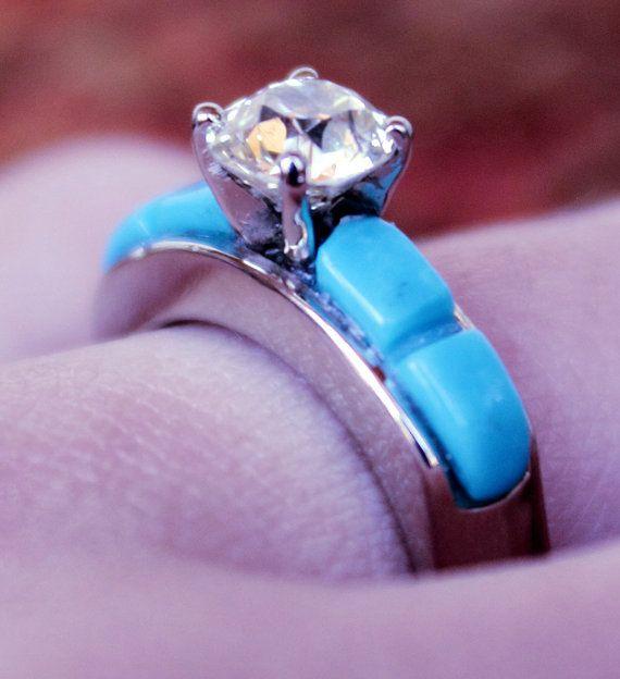1 Karat Old European Cut Diamond Turquoise Engagement Ring etsy