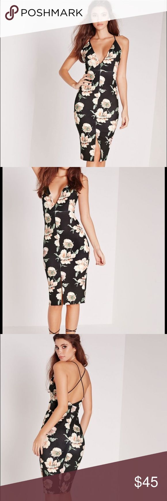 Misguided Floral Print Dress Gorgeous Misguided dress. Brand new with tags. US size 6. Misguided Dresses Midi